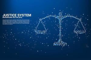 escala de justiça no estilo de conexão ponto e linha vetor