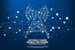 torre de antena de polígono com o ícone do dispositivo móvel vetor