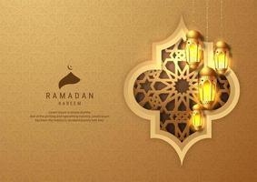 Ramadan Kareem ouro pendurado lanternas em fundo em relevo vetor