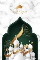 cartão de Ramadã kareem com caligrafia de fita de ouro vetor