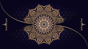 fundo de mandala de luxo com padrão de arabesco vetor