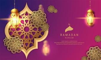 fundo roxo do ramadan kareem com lanternas de suspensão vetor