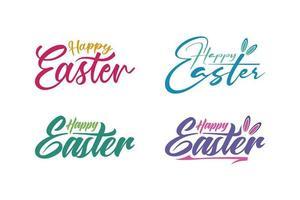 conjunto de letras caligráficas de feliz páscoa vetor