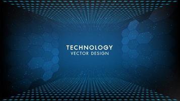 fundo azul tecnologia com padrão exagon vetor