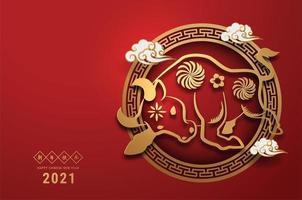 cartaz de boi de corte de papel ornamentado para o ano novo chinês