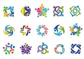 pessoas coloridas e conjunto de logotipo comunitário