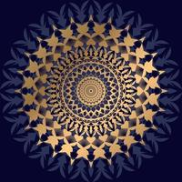 mandala de ouro e azul escuro no preto vetor