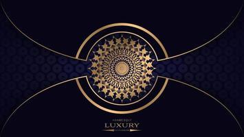 fundo de mandala de luxo azul e ouro com curvas vetor