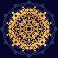 mandala de ouro sobre fundo azul escuro vetor