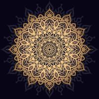 mandala de estrela floral dourada vetor