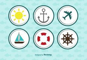 Conjunto de ícones arredondado náutico vetor