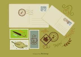Elementos do outono do porte postal vetor