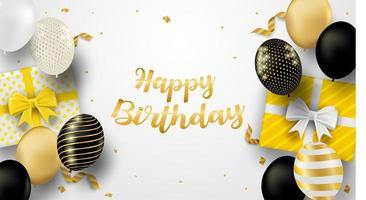 cartão de festa de aniversário com balões e presentes