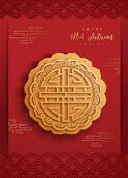 cartaz festival chinês meados de outono com bolo da lua vetor
