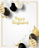 cartão de aniversário vertical com balões e moldura dourada