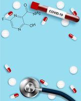 cartaz covid-19 vertical com medicina vetor