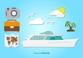 Ícones planos da viagem de cruzeiro