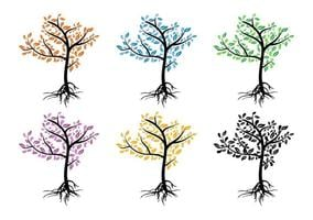 Árvores coloridas sazonais vetor