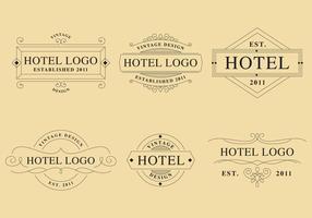 Logos de hotéis lineares vetor