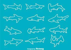 Ícones do vetor do tubarão desenhado à mão