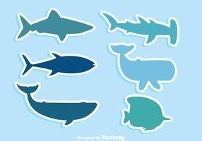 Ícones de vida selvagem do mar vetor