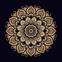 mandala estampada flor ouro vetor