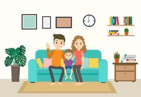 família feliz dos desenhos animados no sofá em casa vetor