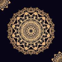 mandala dourada no preto com design de dois cantos vetor