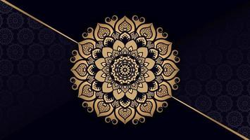 mandala dourada com fundo diagonal da linha ouro vetor