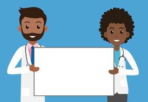 médicos minoritários masculinos e femininos, segurando placa vetor