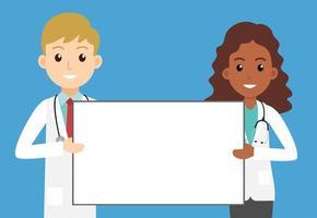 médicos segurando placa vazia vetor