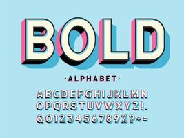 alfabeto moderno display em negrito 3d vetor