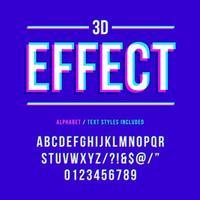 alfabeto de efeito 3d estereoscópico vetor