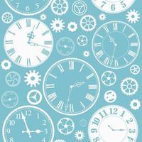 padrão sem emenda de faces e peças de relógio vetor
