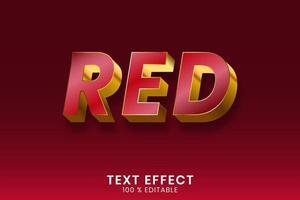 efeito de texto de contorno vermelho e dourado metálico vetor