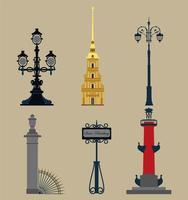 conjunto de símbolos históricos russos vetor