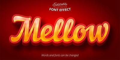efeito de fonte editável brilhante amarelo e vermelho vetor