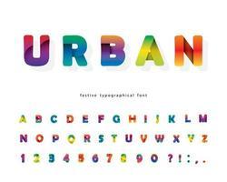 papel cortado gradiente 3d alfabeto