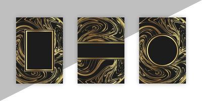 conjunto de cartas com mármore dourado vetor