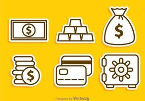 Ícones do contorno do dinheiro