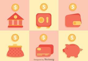 Ícones de economia de banco vetor