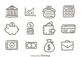 Ícones do banco desenhado à mão vetor