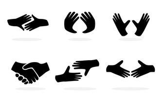 Ícones de mão preta vetor