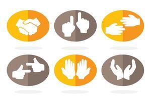 Vetores de ícones de mão plana
