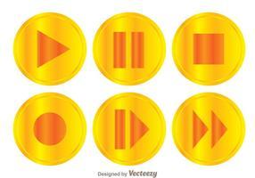 Conjunto de botões de jogo dourados