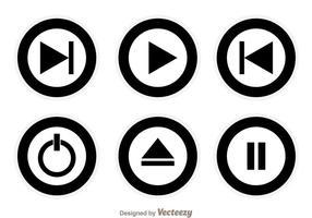 Botões do círculo de mídia preta