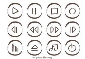 Botões do jogador de mídia desenhados à mão vetor