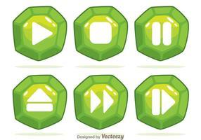 Green Gem Button Vectors