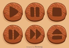 Botão de Wood Media Player vetor