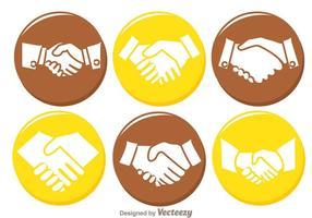 Ícones do círculo de aperto de mão vetor